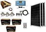WindyNation 300 Watt (3pcs 100W) Solar Panel Kit + 1500 Watt VertaMax Power Inverter + AGM Battery Bank for RV, Boat, Cabin,...