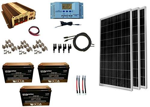 WindyNation 300 Watt (3pcs 100W) Solar Panel Kit + 1500 Watt VertaMax Power Inverter + AGM Battery Bank for RV, Boat, Cabin, Off-Grid 12 Volt Battery System