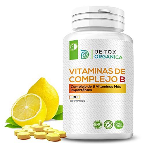 Detox Organica Vitamina B Complex 180 Comprimidos   Complejo Vitamina B con 8 Vitaminas del Grupo B - Suministro para 6 Meses