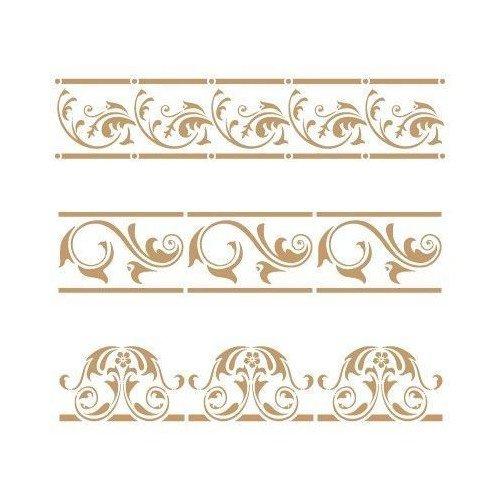 TODO STENCIL Deco Cenefa 054 Tres Florales, Medidas: Stencil 20 x 20 cm - Diseño 18,1 x 15,9 cm