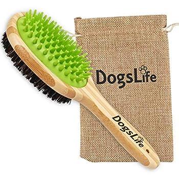 Brosse en bambou pour animal domestique avec masseur en silicone pour toilettage des chiens | Sac réutilisable et respectueux de l'environnement | Parfait pour le nettoyage des chiens dans le bain