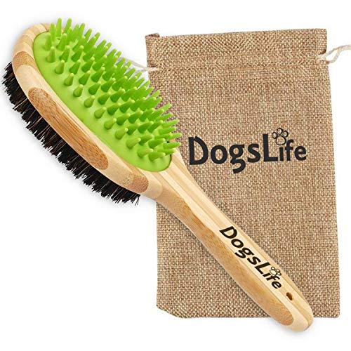 A Dogs Life Haustierbürste aus Bambus mit Silikon-Massagegerät für die Hundepflege, wiederverwendbar, umweltfreundliche Tasche, perfekt für die Reinigung von Hunden im Bad