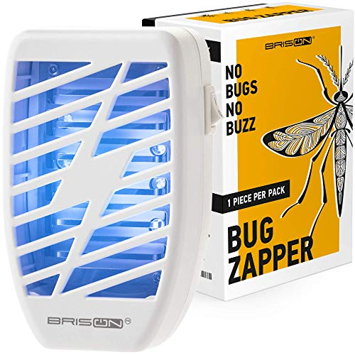 Indoor Plug-in Bug Zapper - Power Portable Home Electric Insect Trap - Odorless Noiseless for Removes Flies Mosquitos Gnats Moth and Bugs - 1 Pack - White