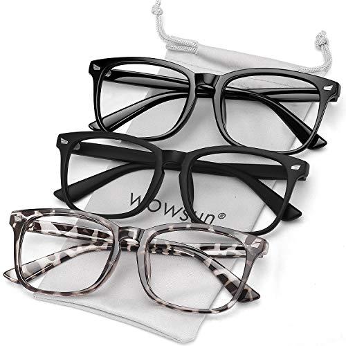 anteojos de filtro de luz azul unisex Nerd sin receta de lentes transparentes, Negro claro+negro mate + leopardo gris