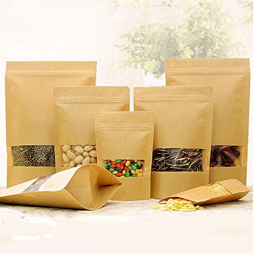 Wrightjp 食品収納袋 密閉袋 ジップ袋 自立袋 クラフト紙袋 窓付き チャック付き 耐油角底袋 食品級 ヒートシーラー使用可能 お菓子 クッキー チョコレート ラッピング 保存 包装50pcs