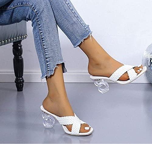 ZXQYLFLY Pantofole per Bambini,Summer Fashion Square Head Transparent Heel Osso Housts House House Donne Pestende da Donna-Bianca_43EU.