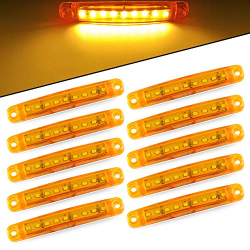 10pcs 9LED 12-24V Súper Brillante Luces de Posición laterales Lámpara - Luz de Posición del Camión -Side Marker Luz de Advertencia del Remolque del Vehículo -Camping Van Remolque Motocicleta(Ámbar)