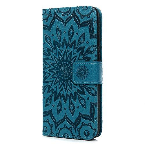 Tophung Honor 7A Case, Huawei P62018Case, stoßfest PU Leder Flip Wallet Case Sonnenblume mit Ständer Karte Halter Magnetisch Silikon Skin Slim Schutzhülle Handy Cover für Huawei P62018/HONOR 7A