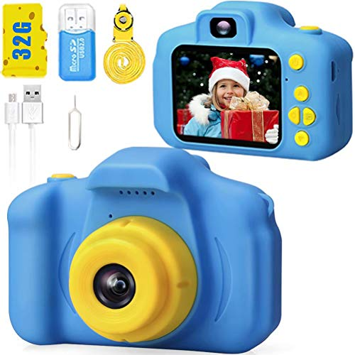 Desuccus Kids Camera HD 1080p Video Digital Camera for Kids Birthday Gift for 3-8 Year Old Boys and Girls Toddler Video Record Camera with 32GB SD Card Kids Toys 5 Puzzle Games