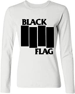 LSLEEVE Women's Band Black Flag Logo Long Sleeve T-shirt