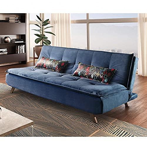 Sofa Cama 3 Lugares Milano Ref 16 Luxury Estofados Azul