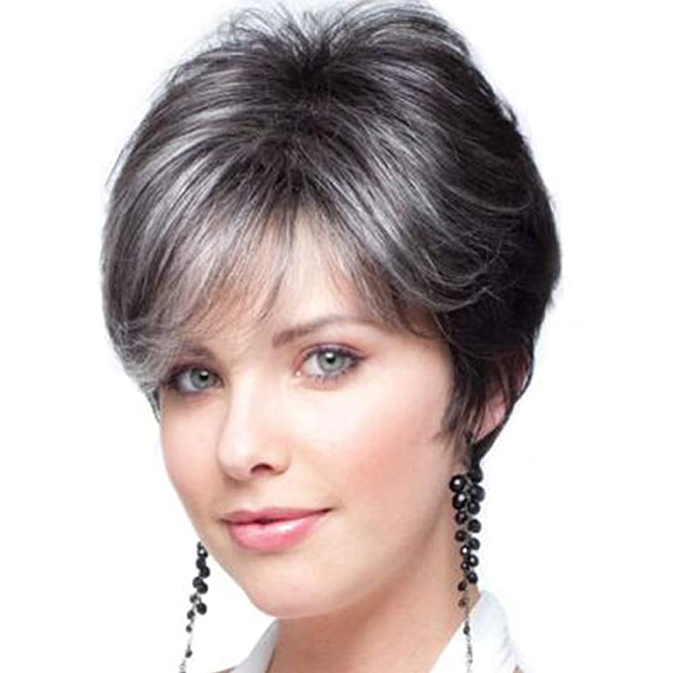 MagicaLove Fashion Short Human Hair Synthetic Wig Black to Gray for Women
