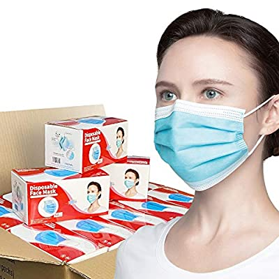 [2000 Pack 40 Box] Face Mask Disposable Non Medical Surgical 3-Ply Earloop Mouth Cover Lightweight Breathable Face Masks