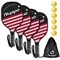4-Count Niupipo Pickleball Paddles with 6 Balls and 1 Carry Bag