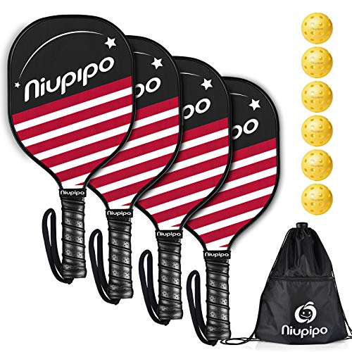 niupipo Pickleball Paddles, Pickleball Set 4 Paddles with 6 Balls and 1 Carry Bag, 7-ply Basswood Wood Pickleball Paddles, Safe Edge Guard, Cushioned Grip, Wooden Pickleball Paddle 4 Pack for Beginner