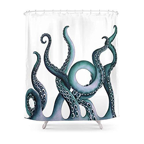 Suminla-Home Badezimmer Kraken Blaugrün Duschvorhang 182,9cm von 182,9cm
