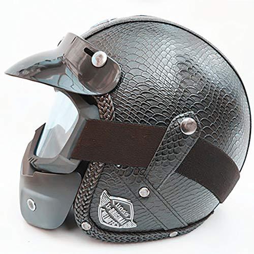 Harley Helm aus Leder, handgefertigt, Vintage-Stil, personalisierbar, für Motorrad/Autos, Halbhelm, Schwarz/Braun/Blau/Grau/Rot XL 8