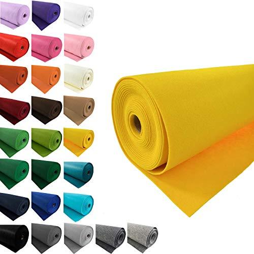 maDDma Bastelfilz 1m Meterware Filz 90cm x 1,5mm Dekofilz Taschenfilz Filzstoff 26 Farben, Farbe:gelb