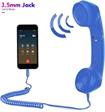 Cell Phone Handset,Retro Telephone Handset Anti Radiation Receivers 3.5MM for iPhone iPad,Mobile Phones,Computer Dark Blue