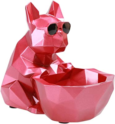 SZAT PRO French Bulldog Sculpture Frenchie Bull Dog Statue Animal Figurines for Home Decor Home Ornaments Storage for Gift Decoration Arts Crafts Hand Painted Polyreisn Red