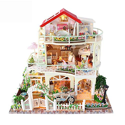 Soul hill DIY Mini Room Set zum Holzbaukästen Holzhausmodell Gebäude Set Mini-DIY Miniatur-Ausstattung des Zimmers Holzbaukästen (Farbe: Mehrfarbig, Größe: 37.5x11x32.5cm)