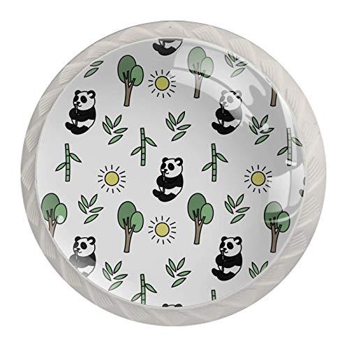Pomos de bambú con diseño de panda, 4 unidades, cristal de cristal, juego de 4 unidades