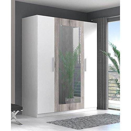 FINLANDEK Armoire de Chambre SIISTI Style Contemporain en Bois aggloméré décor Chene Sable et Blanc - L 180 cm