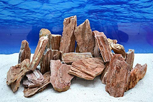 Pro Kiste Aquarium Deko Versteinertes Holz rot braun Natursteine 0,8-1,5 Kg Felsen Nr.51 Pagode Dekoration Aquascaping