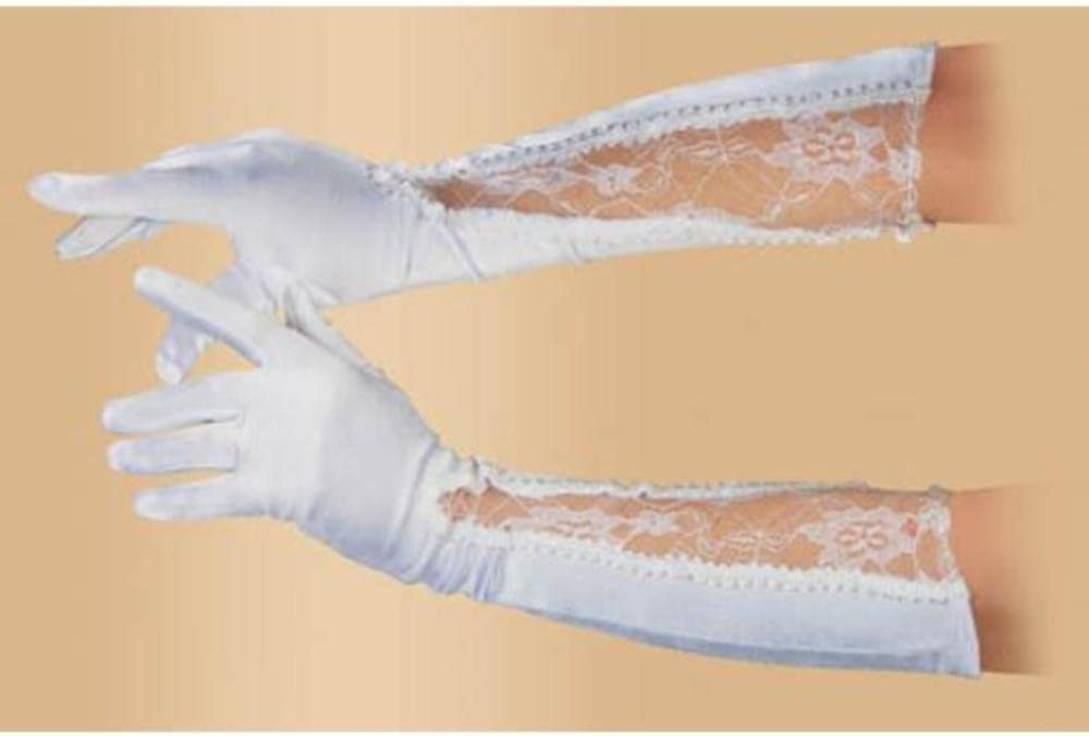 Loftus International Star Power Women Fancy Satin Lace Below The Elbow Gloves, White, One Size (18