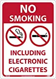 NMC M952RB Danger NO Smoking Including Electronic Cigarettes Sign - 10 in. x 14 in, Red/Black Text on White/Red, Plastic Sign with Graphics