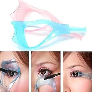 Gugzy® 3 in 1 Makeup Eyelash Tool Upper Lower Lash Mascara Applicator Guide Eyelash Comb Cosmetic Tool (2, PinkBlue)