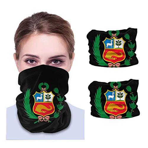 N/W Bandanas y pasamontañas con bandera de Perú, 2 unidades, para el cuello, color negro