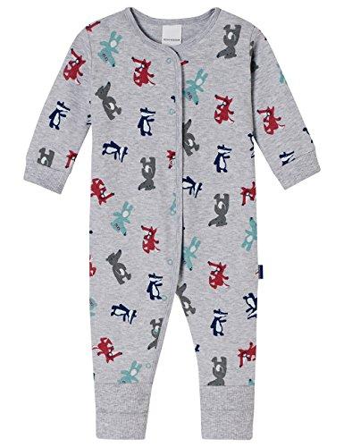 Schiesser Schiesser Baby-Jungen Anzug mit Vario Fuß Zweiteiliger Schlafanzug, Grau (Grau-Mel. 202), 56 (Herstellergröße: 056)