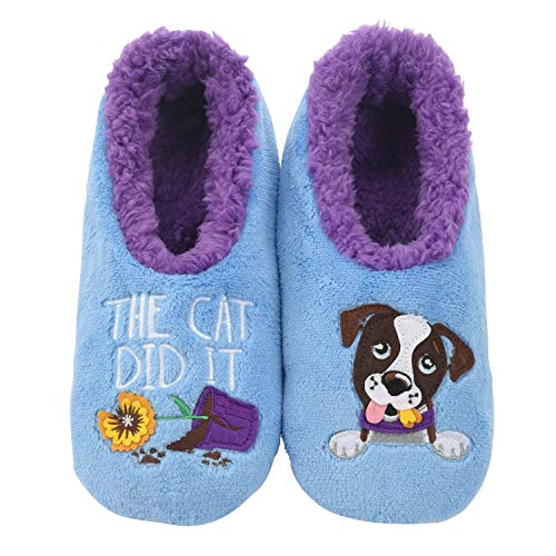 Snoozies Pairables Womens Slippers - House Slippers - The Cat Did It - Large