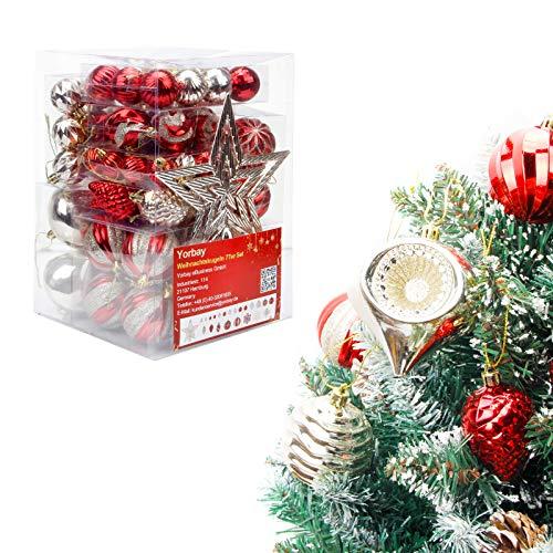 Yorbay 77 Piezas Bolas de Navidad de 3-9.5 cm Adornos Navideños para Arbol 1 Topstar, Decoración de Navidad Inastillable, Regalos de Colgantes de Navidad