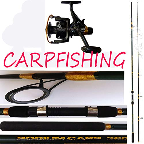 globe fishing Canna da Pesca CARPFISHING LBS 3 MT.3,60 + Mulinello Carpa Zonda Runner