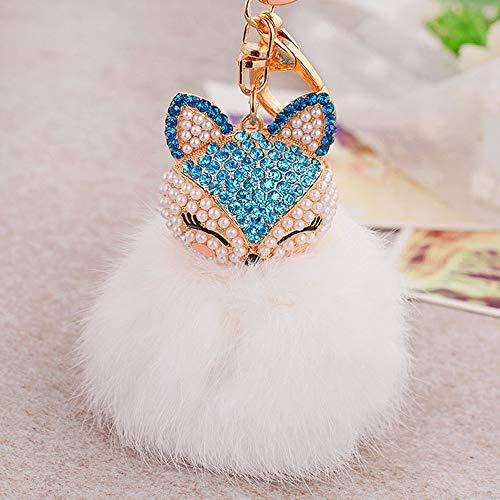 Rameng- Porte Clé Licorne Pompon Fourrure Peluche Femme Fille Pententifs Accessoires Cadeau d'Anniversaire (blanc)