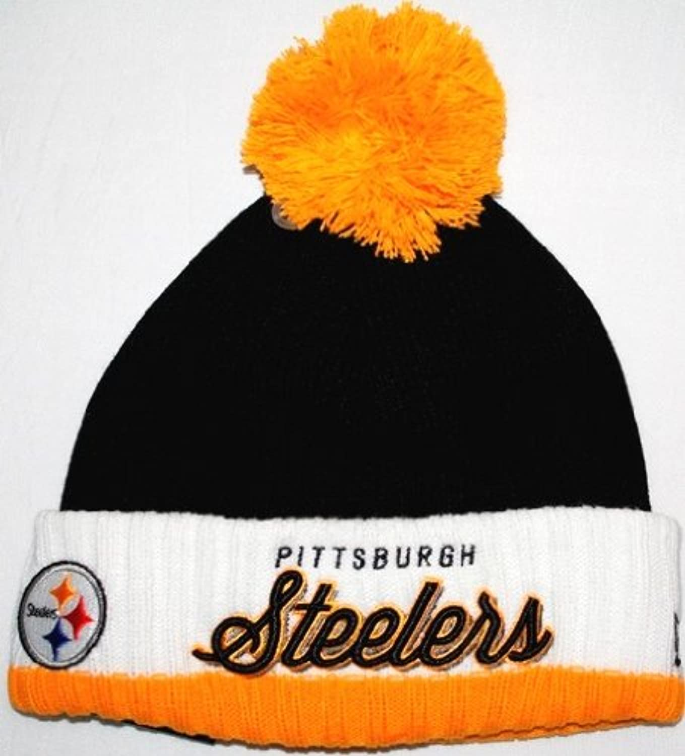 Pittsburgh Steelers New Era NFL Pom Time Throwback Cuffed Knit Hat