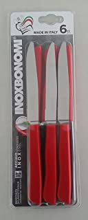 Set 6 pack of Steak/Pizza/Table Knives MADE IN ITALY (Red)