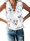 BLENCOT Women Ladies Sexy V Neck Floral Lace Trim Tank...