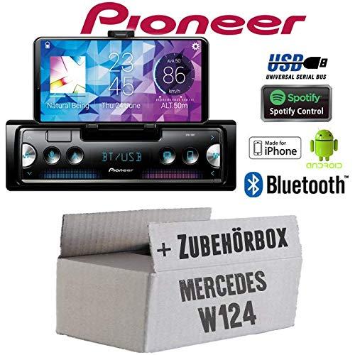 Mercedes W124 - Autoradio Radio Pioneer SPH-10BT - Smartphone Empfänger mit Bluetooth | Spotify | Android | iPhone | 4x50Watt Einbauzubehör - Einbauset