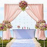 Cortinas de gasa con 2 paneles de 29 x 84 pulgadas, color melocotón, cortina transparente para sala de estar, boda, telón de fondo de tela de poliéster melocotón, telón de fondo de gasa para fondo