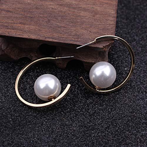 Pour les femmes Roud Imitation Pearl Drop Earring For Women Brincos Vintage Silver Earing Irregular