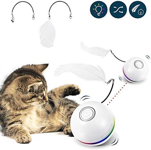 DEBEME Interactieve kattenspeelgoedbal kattenspeelgoed Wicked Ball Ring belveer voor huiskatten 3 rotatiemodi USBoplaadbaar met kleurrijk ledlicht