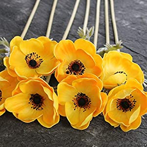 Artificial and Dried Flower 5pc Silk Flower Artificiales for Wedding Holding BouqueReal Touch Artificial Anemone Flowers Fake Flowers Home Decorative Wreath – ( Color: Yellow )