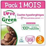 Love & Green Couches Taille 3 (4-9 Kg) - Pack 1 Mois (208 Couches)