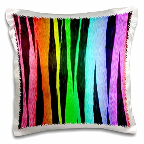 Designs Random Patterns - Trendy Rainbow Colors Tiger Stripes Animal Print Pattern - 16x16 inch Pillow Case