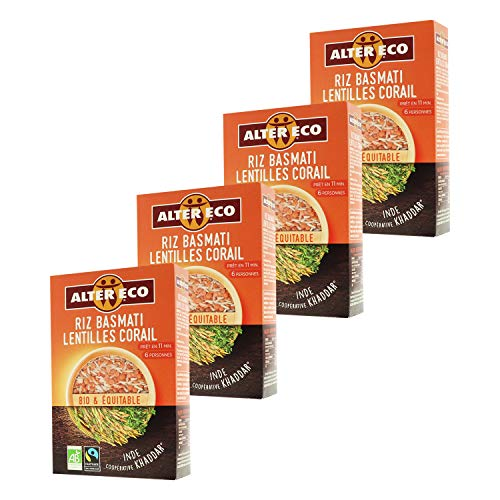 Alter Eco Riz Basmati Lentilles Corail Bio & Équitable - Prêt en 11 Minutes - 400 g - Lot de 4