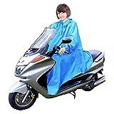 男女兼用 バイク 自転車 スクーター 用 レインコート ポンチョ 防水 フリーサイズ 雨具 雨合羽 カッパ 屋外作業 アウトドア (ブルー)