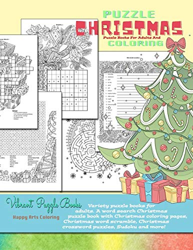 CHRISTMAS puzzle books for adults and coloring. Variety puzzle books for...